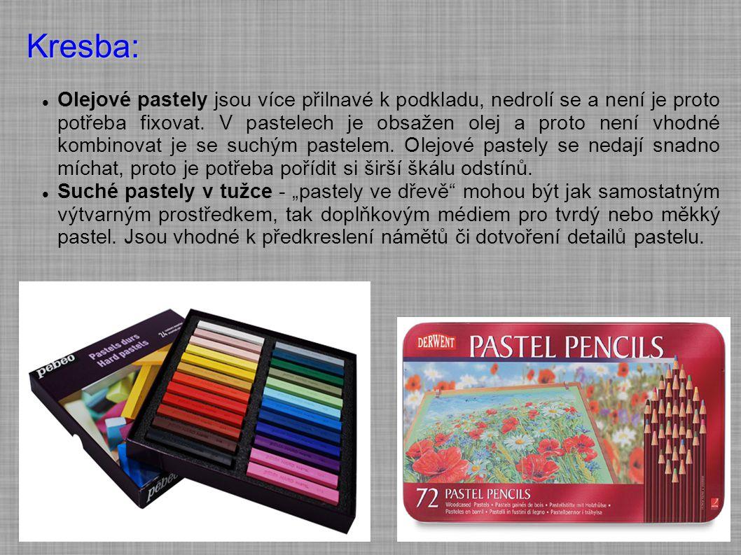 Kresba: Olejové pastely jsou více přilnavé k podkladu, nedrolí se a není je proto potřeba fixovat. V pastelech je obsažen olej a proto není vhodné kom