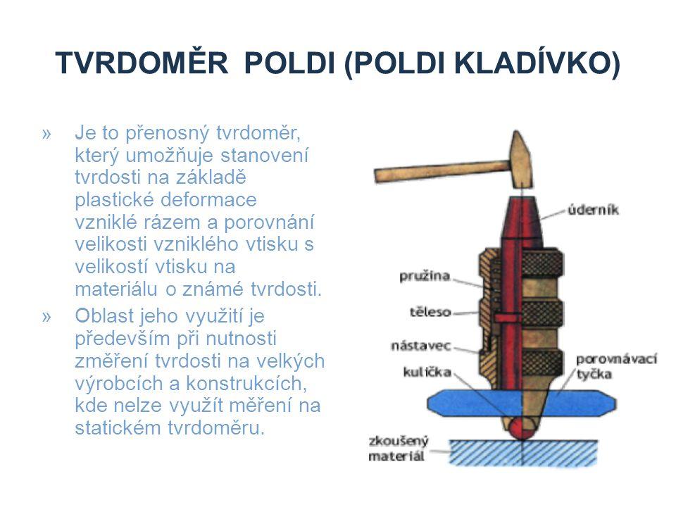 TVRDOMĚR POLDI (POLDI KLADÍVKO) »Je to přenosný tvrdoměr, který umožňuje stanovení tvrdosti na základě plastické deformace vzniklé rázem a porovnání v