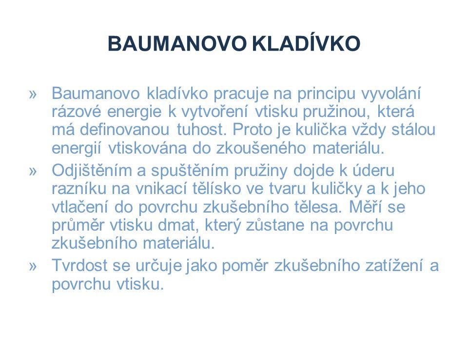 BAUMANOVO KLADÍVKO »Baumanovo kladívko pracuje na principu vyvolání rázové energie k vytvoření vtisku pružinou, která má definovanou tuhost. Proto je