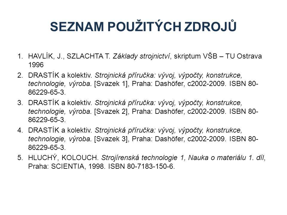 1.HAVLÍK, J., SZLACHTA T. Základy strojnictví, skriptum VŠB – TU Ostrava 1996 2.DRASTÍK a kolektiv. Strojnická příručka: vývoj, výpočty, konstrukce, t