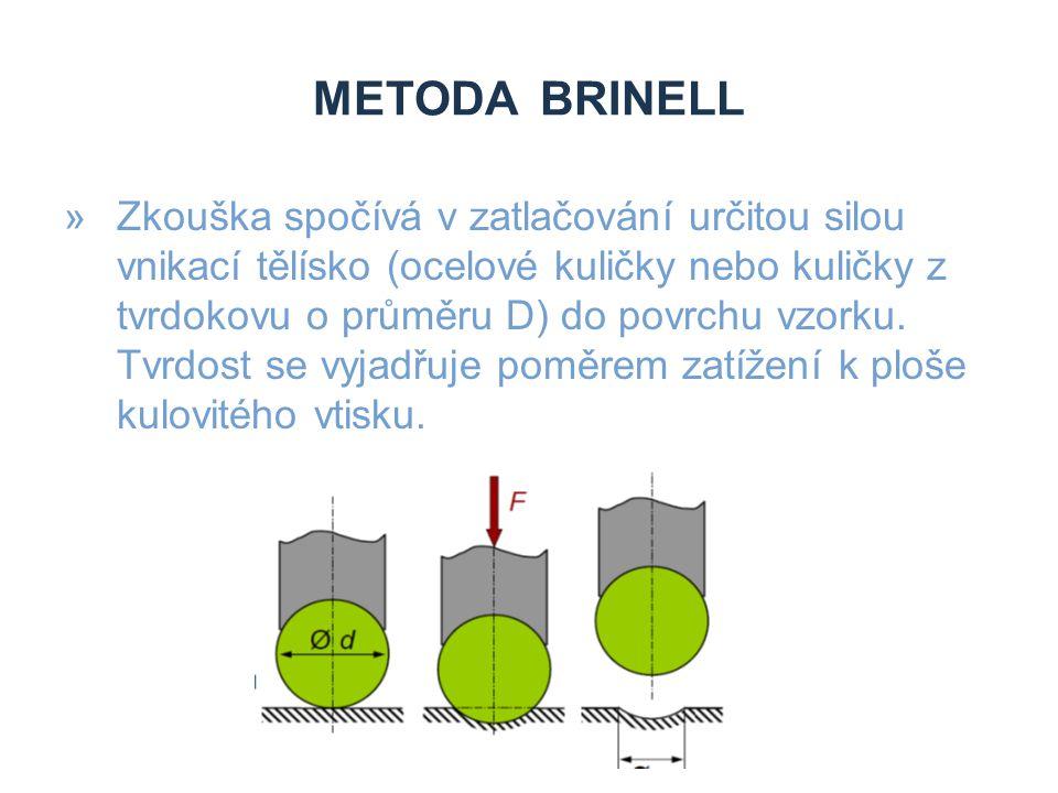 METODA BRINELL »Zkouška spočívá v zatlačování určitou silou vnikací tělísko (ocelové kuličky nebo kuličky z tvrdokovu o průměru D) do povrchu vzorku.