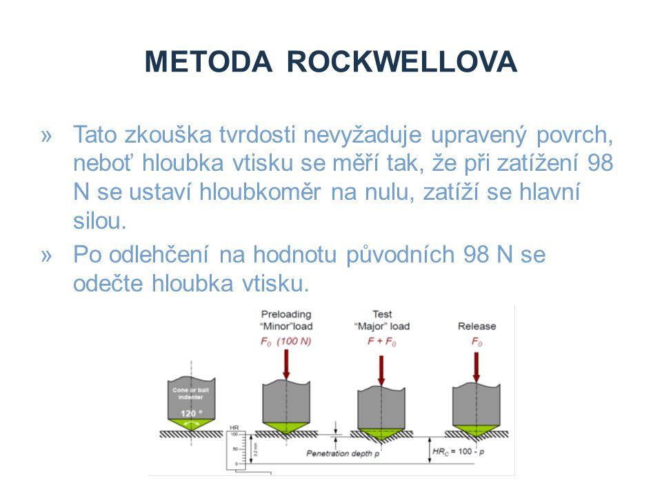 METODA ROCKWELLOVA »Tato zkouška tvrdosti nevyžaduje upravený povrch, neboť hloubka vtisku se měří tak, že při zatížení 98 N se ustaví hloubkoměr na n