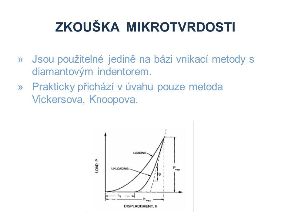 ZKOUŠKA MIKROTVRDOSTI »Jsou použitelné jedině na bázi vnikací metody s diamantovým indentorem. »Prakticky přichází v úvahu pouze metoda Vickersova, Kn