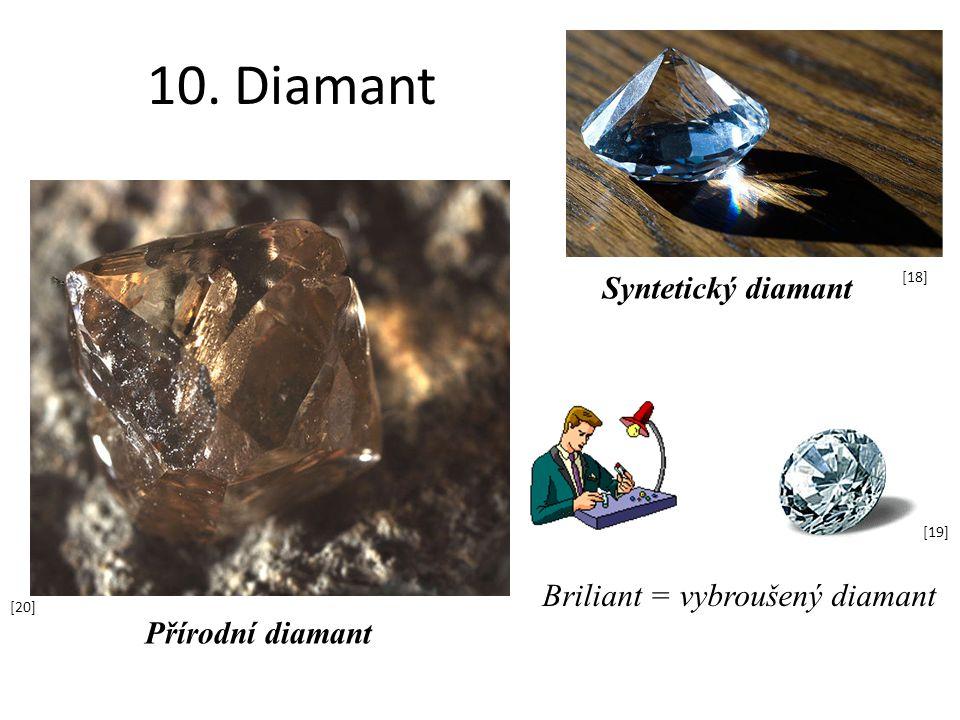 10. Diamant Syntetický diamant Briliant = vybroušený diamant [18] [19] Přírodní diamant [20]