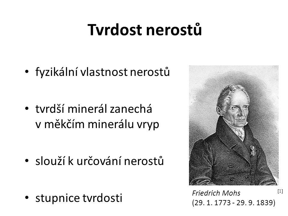 Tvrdost nerostů fyzikální vlastnost nerostů tvrdší minerál zanechá v měkčím minerálu vryp slouží k určování nerostů stupnice tvrdosti [1] Friedrich Mo