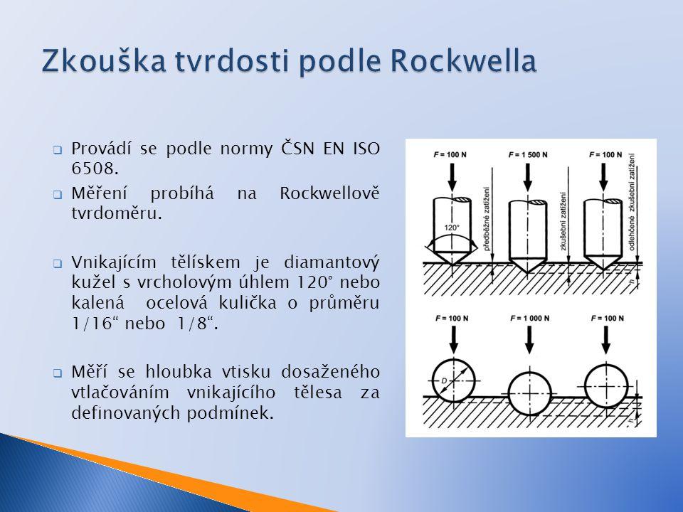  Provádí se podle normy ČSN EN ISO 6508.  Měření probíhá na Rockwellově tvrdoměru.  Vnikajícím tělískem je diamantový kužel s vrcholovým úhlem 120°