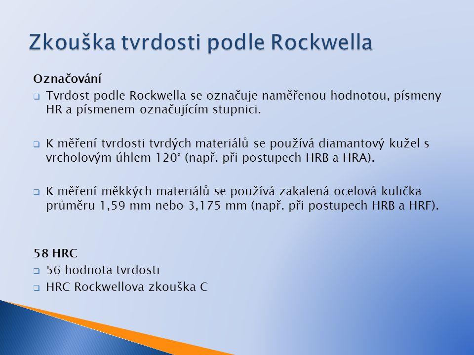 Označování  Tvrdost podle Rockwella se označuje naměřenou hodnotou, písmeny HR a písmenem označujícím stupnici.  K měření tvrdosti tvrdých materiálů