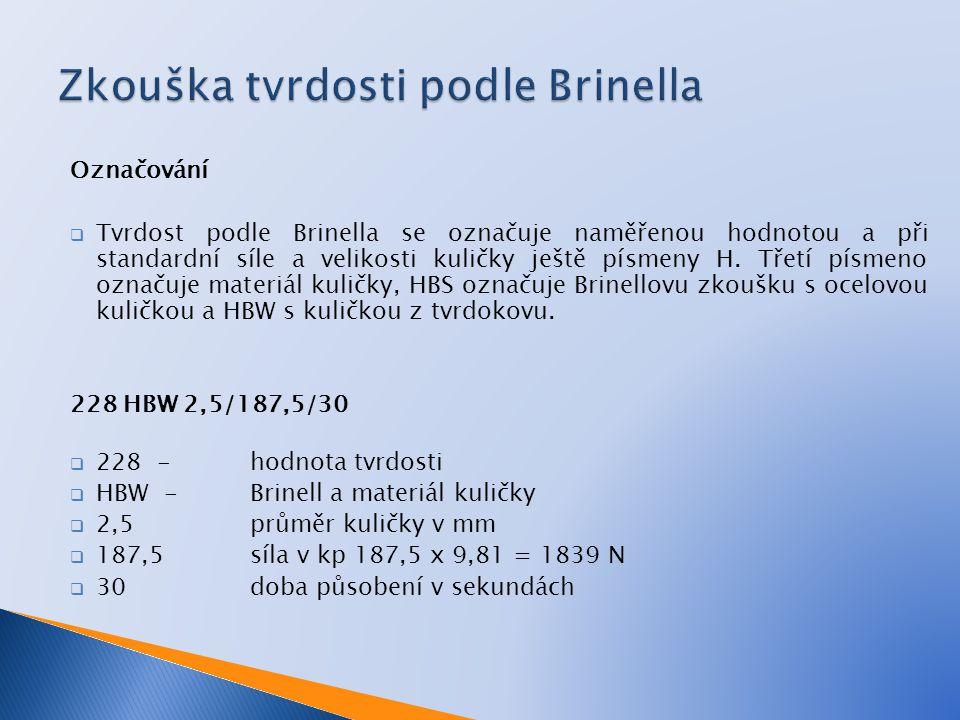 Označování  Tvrdost podle Brinella se označuje naměřenou hodnotou a při standardní síle a velikosti kuličky ještě písmeny H. Třetí písmeno označuje m