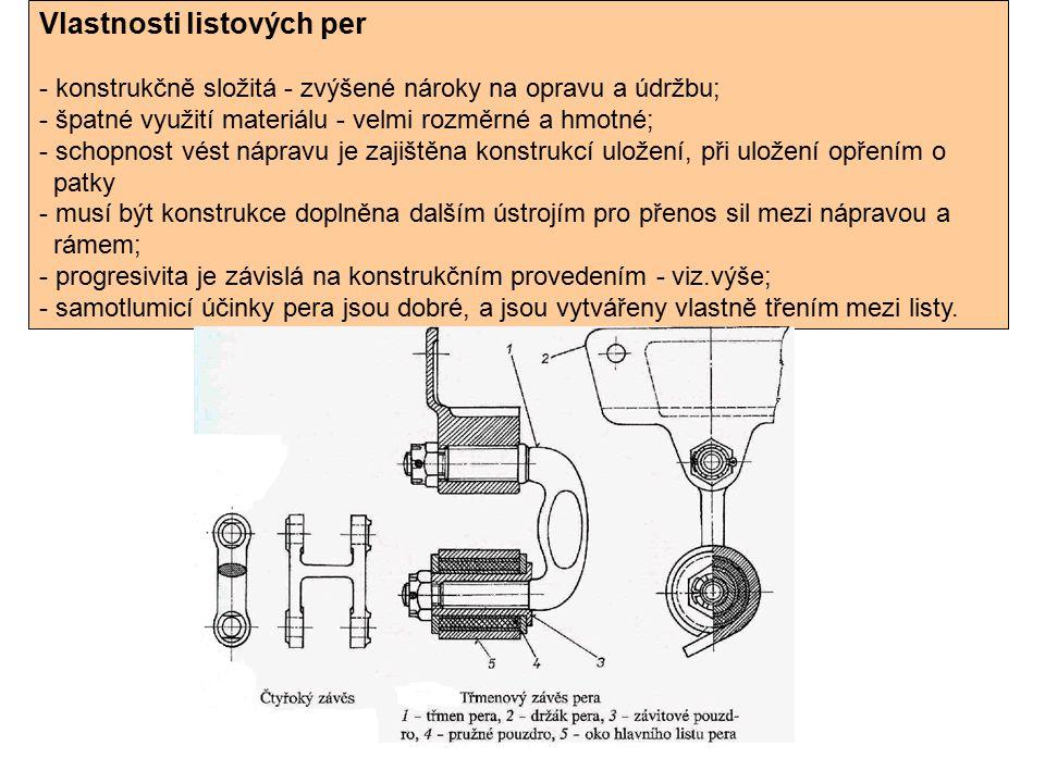 Vlastnosti listových per - konstrukčně složitá - zvýšené nároky na opravu a údržbu; - špatné využití materiálu - velmi rozměrné a hmotné; - schopnost