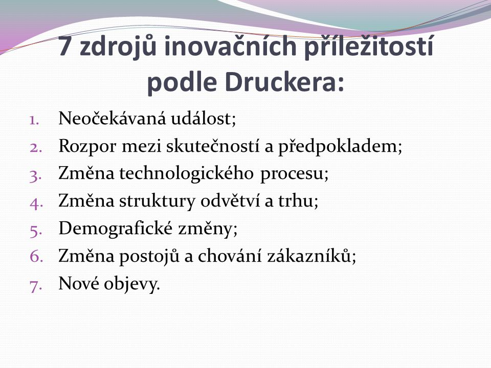 7 zdrojů inovačních příležitostí podle Druckera: 1. Neočekávaná událost; 2. Rozpor mezi skutečností a předpokladem; 3. Změna technologického procesu;
