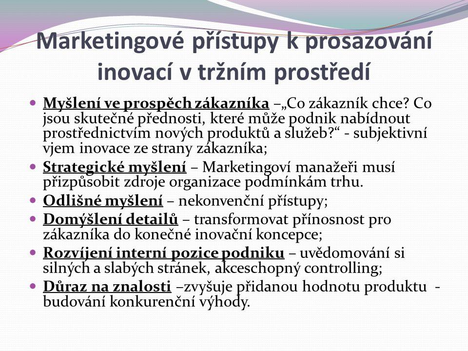 """Marketingové přístupy k prosazování inovací v tržním prostředí Myšlení ve prospěch zákazníka –""""Co zákazník chce? Co jsou skutečné přednosti, které můž"""