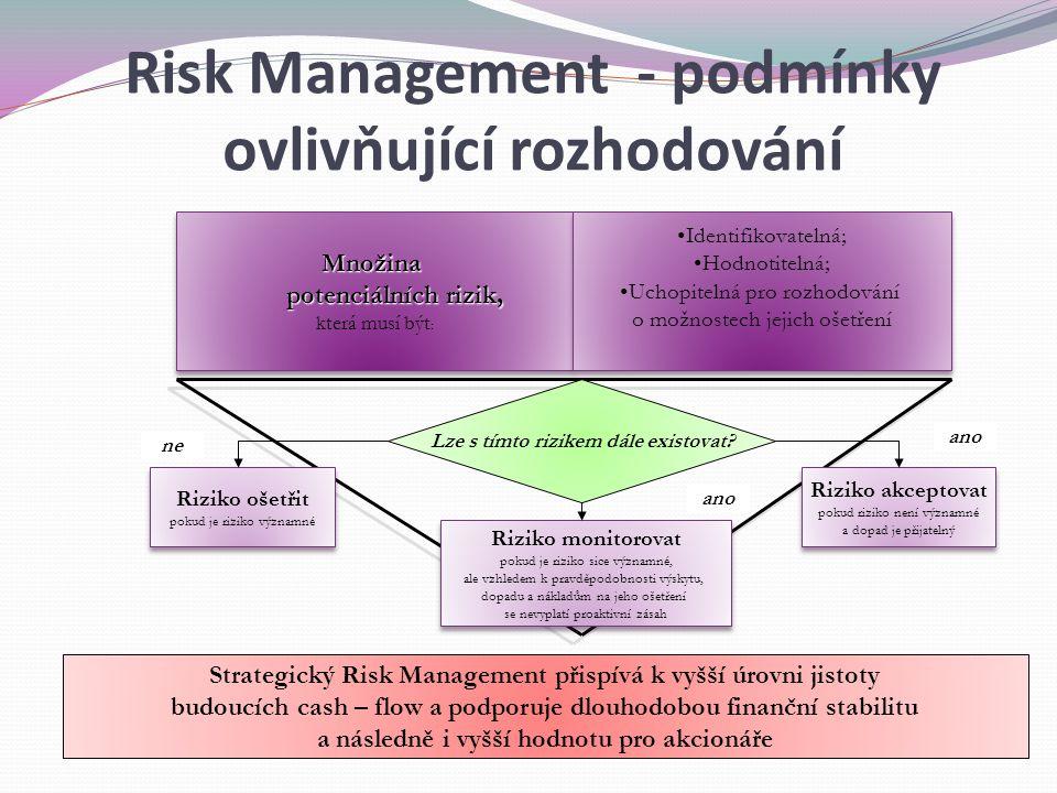 Množina potenciálních rizik, potenciálních rizik, která musí být :Množina potenciálních rizik, potenciálních rizik, která musí být : Strategický Risk Management přispívá k vyšší úrovni jistoty budoucích cash – flow a podporuje dlouhodobou finanční stabilitu a následně i vyšší hodnotu pro akcionáře Lze s tímto rizikem dále existovat.