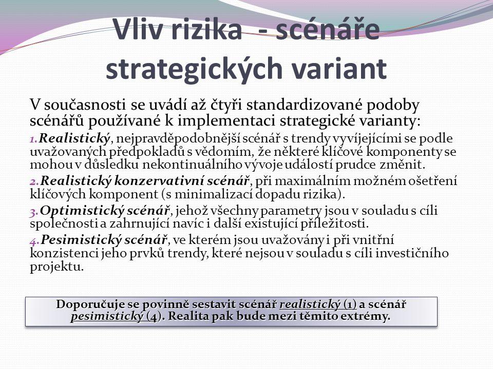 Vliv rizika - scénáře strategických variant V současnosti se uvádí až čtyři standardizované podoby scénářů používané k implementaci strategické varian