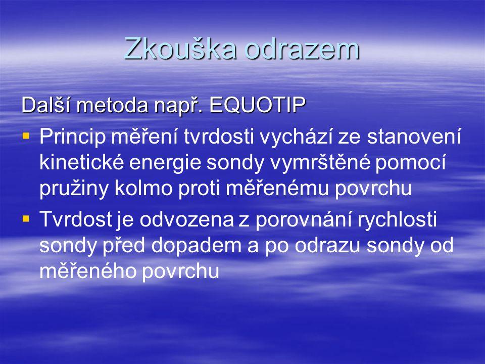 Zkouška odrazem Další metoda např. EQUOTIP   Princip měření tvrdosti vychází ze stanovení kinetické energie sondy vymrštěné pomocí pružiny kolmo pro