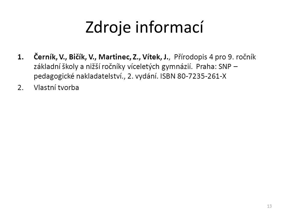 Zdroje informací 1.Černík, V., Bičík, V., Martinec, Z., Vítek, J., Přírodopis 4 pro 9. ročník základní školy a nižší ročníky víceletých gymnázií. Prah