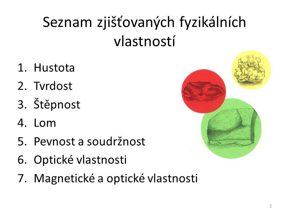 Seznam zjišťovaných fyzikálních vlastností 1.Hustota 2.Tvrdost 3.Štěpnost 4.Lom 5.Pevnost a soudržnost 6.Optické vlastnosti 7.Magnetické a optické vla