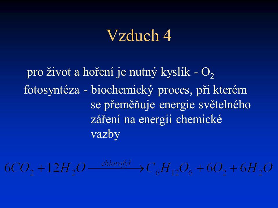 Vzduch 4 pro život a hoření je nutný kyslík - O 2 fotosyntéza - biochemický proces, při kterém se přeměňuje energie světelného záření na energii chemi