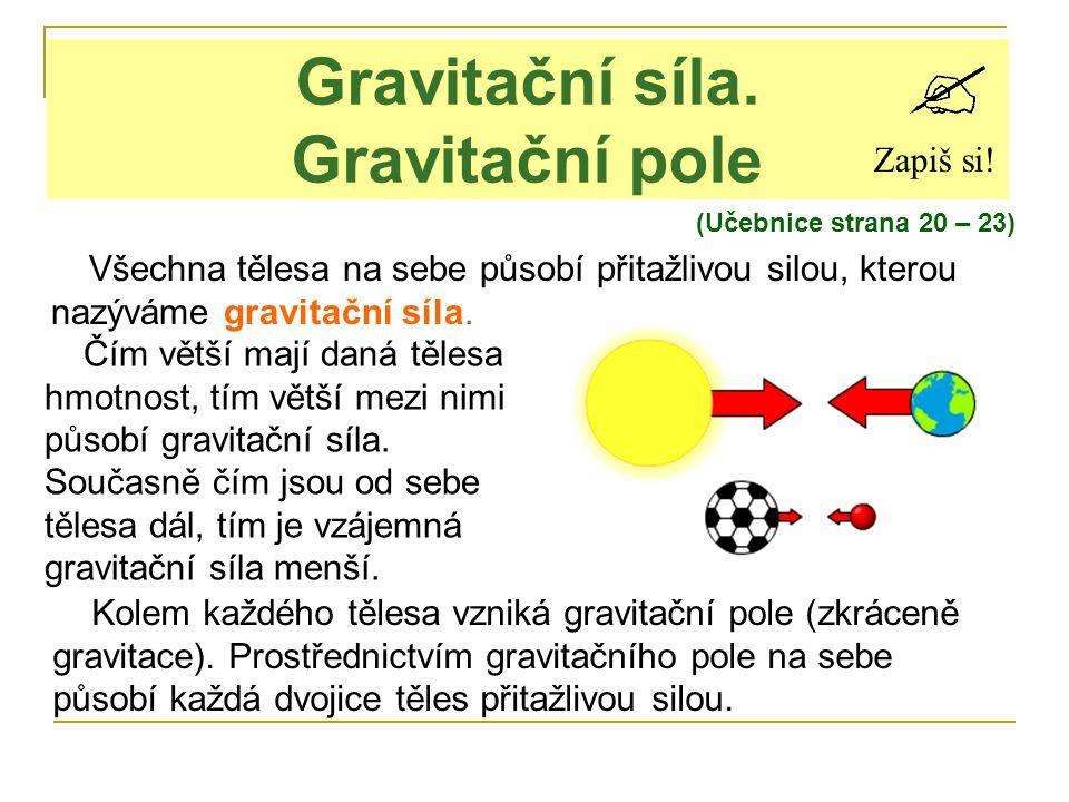 Gravitační síla. Gravitační pole Zapiš si! Všechna tělesa na sebe působí přitažlivou silou, kterou nazýváme gravitační síla. Čím větší mají daná těles