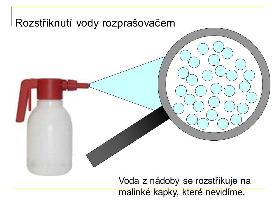 Rozstříknutí vody rozprašovačem Voda z nádoby se rozstřikuje na malinké kapky, které nevidíme.