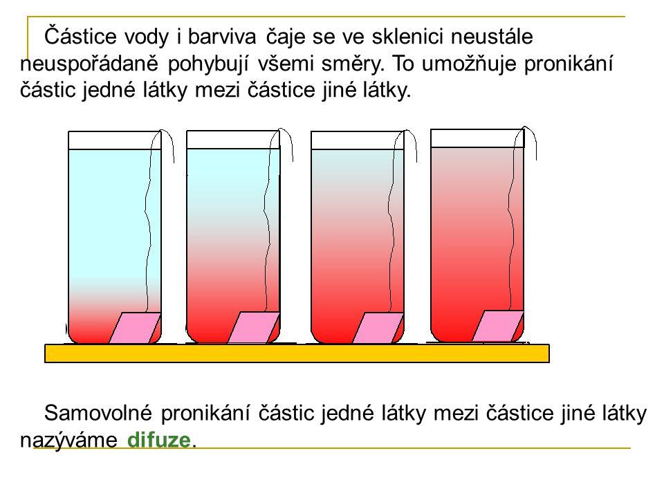 Částice vody i barviva čaje se ve sklenici neustále neuspořádaně pohybují všemi směry. To umožňuje pronikání částic jedné látky mezi částice jiné látk