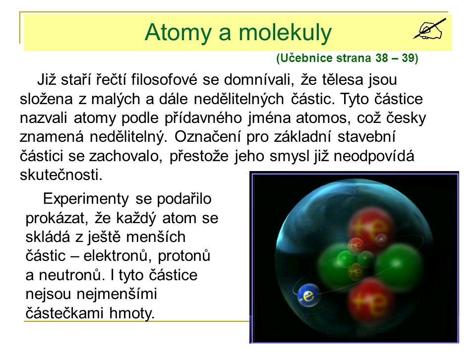 Atomy a molekuly Již staří řečtí filosofové se domnívali, že tělesa jsou složena z malých a dále nedělitelných částic. Tyto částice nazvali atomy podl