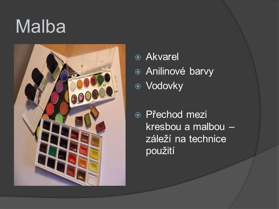 Malba  Akvarel  Anilinové barvy  Vodovky  Přechod mezi kresbou a malbou – záleží na technice použití
