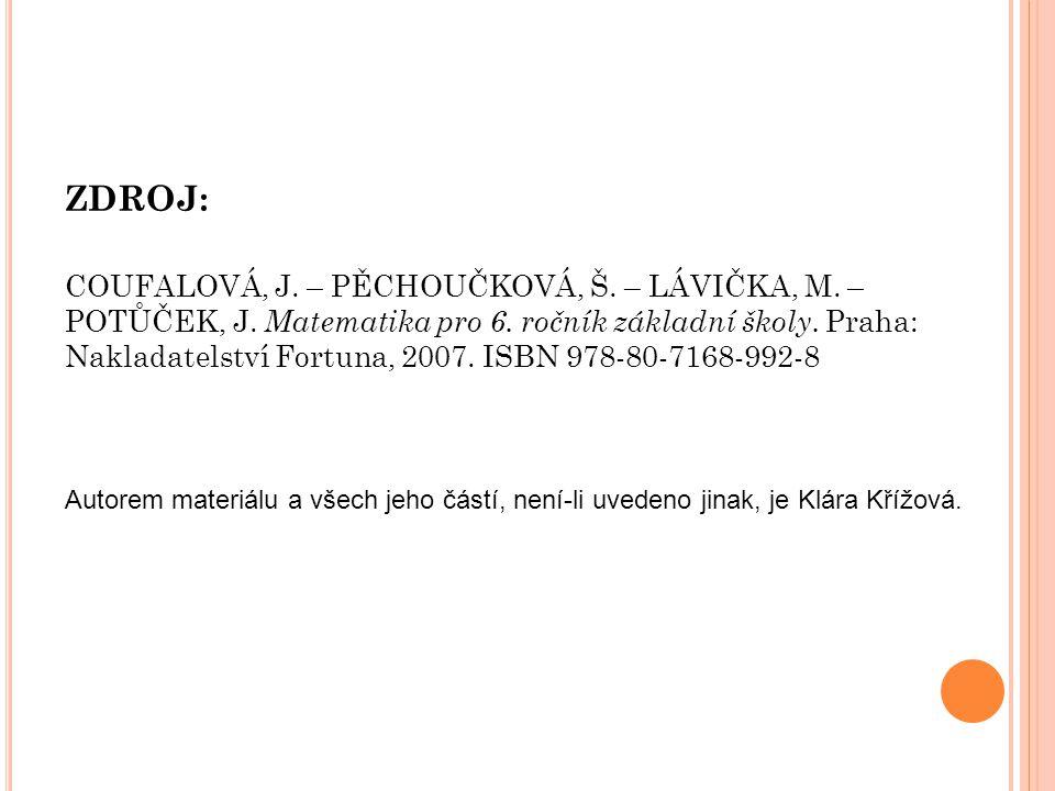 ZDROJ: COUFALOVÁ, J. – PĚCHOUČKOVÁ, Š. – LÁVIČKA, M.