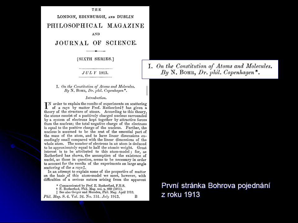 První stránka Bohrova pojednání z roku 1913