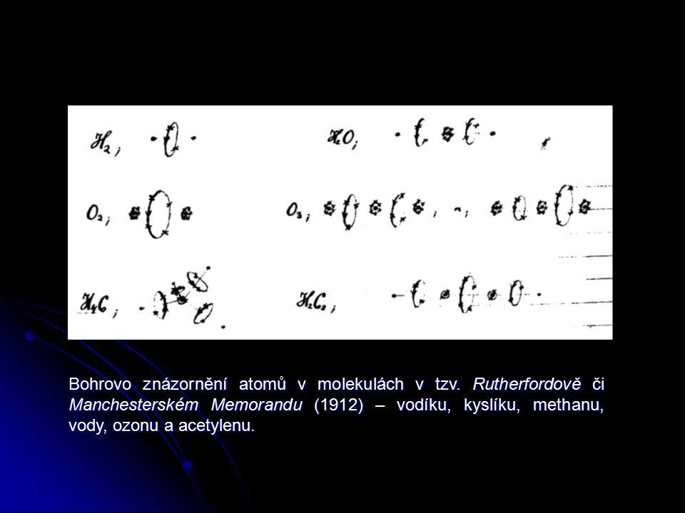 Bohrovo znázornění atomů v molekulách v tzv. Rutherfordově či Manchesterském Memorandu (1912) – vodíku, kyslíku, methanu, vody, ozonu a acetylenu.