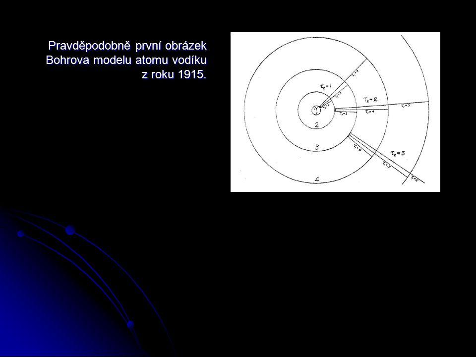 Pravděpodobně první obrázek Bohrova modelu atomu vodíku z roku 1915.