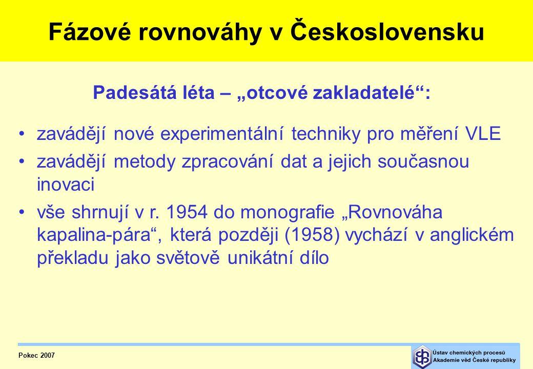 Pokec 2007 Fázové rovnováhy v Československu zavádějí nové experimentální techniky pro měření VLE zavádějí metody zpracování dat a jejich současnou inovaci vše shrnují v r.