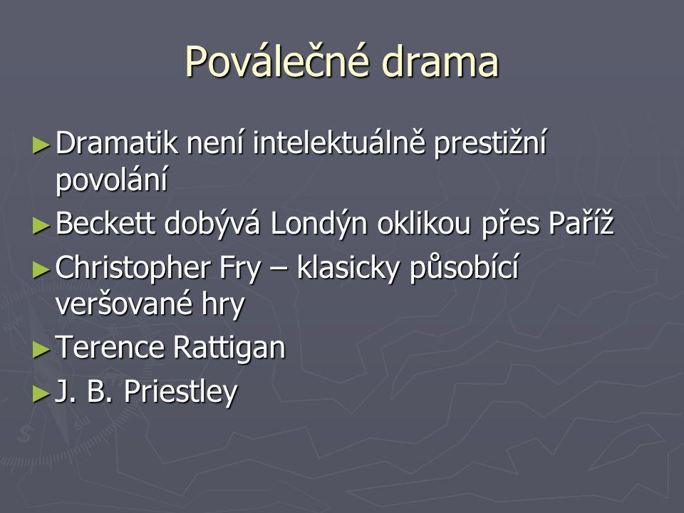 Poválečné drama ► Dramatik není intelektuálně prestižní povolání ► Beckett dobývá Londýn oklikou přes Paříž ► Christopher Fry – klasicky působící veršované hry ► Terence Rattigan ► J.