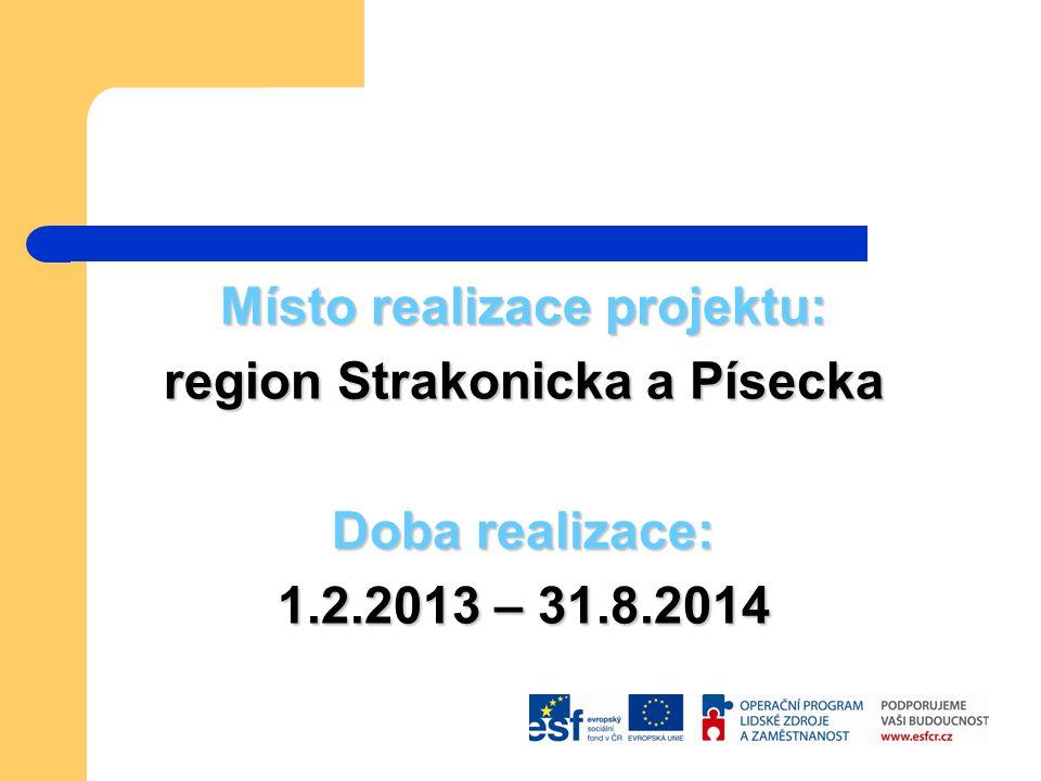Místo realizace projektu: region Strakonicka a Písecka Doba realizace: 1.2.2013 – 31.8.2014
