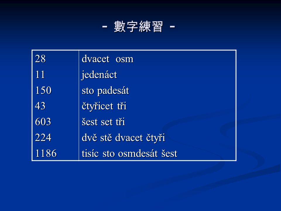 - 數字練習 - 2811150436032241186 dvacet osm jedenáct sto padesát čtyřicet tři šest set tři dvě stě dvacet čtyři tisíc sto osmdesát šest