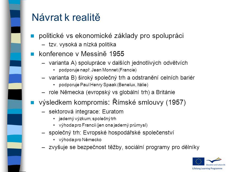 Návrat k realitě politické vs ekonomické základy pro spolupráci –tzv.