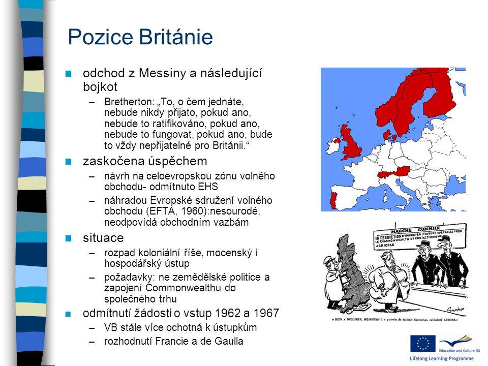 """Pozice Británie odchod z Messiny a následující bojkot –Bretherton: """"To, o čem jednáte, nebude nikdy přijato, pokud ano, nebude to ratifikováno, pokud ano, nebude to fungovat, pokud ano, bude to vždy nepřijatelné pro Británii. zaskočena úspěchem –návrh na celoevropskou zónu volného obchodu- odmítnuto EHS –náhradou Evropské sdružení volného obchodu (EFTA, 1960):nesourodé, neodpovídá obchodním vazbám situace –rozpad koloniální říše, mocenský i hospodářský ústup –požadavky: ne zemědělské politice a zapojení Commonwealthu do společného trhu odmítnutí žádosti o vstup 1962 a 1967 –VB stále více ochotná k ústupkům –rozhodnutí Francie a de Gaulla"""