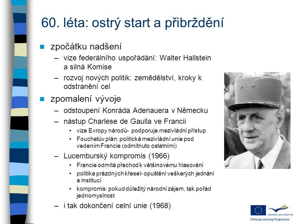 60. léta: ostrý start a přibrždění zpočátku nadšení –vize federálního uspořádání: Walter Hallstein a silná Komise –rozvoj nových politik: zemědělství,
