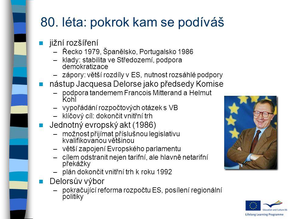 80. léta: pokrok kam se podíváš jižní rozšíření –Řecko 1979, Španělsko, Portugalsko 1986 –klady: stabilita ve Středozemí, podpora demokratizace –zápor