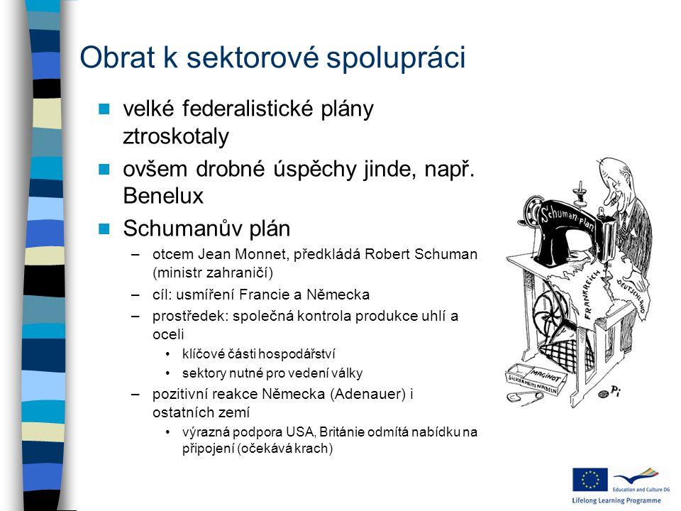 """Schumanova deklarace: 9.května 1950 """" Evropa se nevytvoří najednou, nebo podle jednoho plánu."""