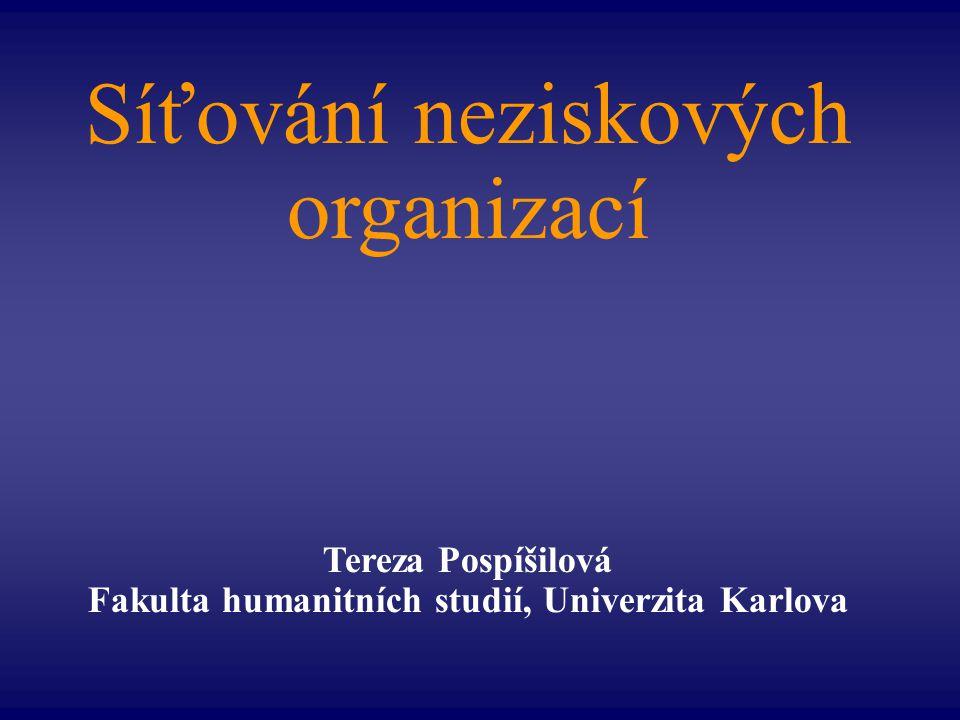 Síťování neziskových organizací Tereza Pospíšilová Fakulta humanitních studií, Univerzita Karlova