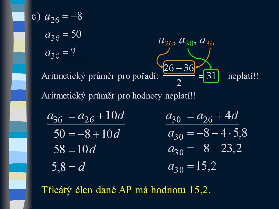 Aritmetický průměr pro pořadí:neplatí!. Aritmetický průměr pro hodnoty neplatí!.