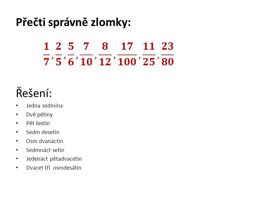 Přečti správně zlomky: Řešení: Jedna sedmina Dvě pětiny Pět šestin Sedm desetin Osm dvanáctin Sedmnáct setin Jedenáct pětadvacetin Dvacet tři osmdesátin