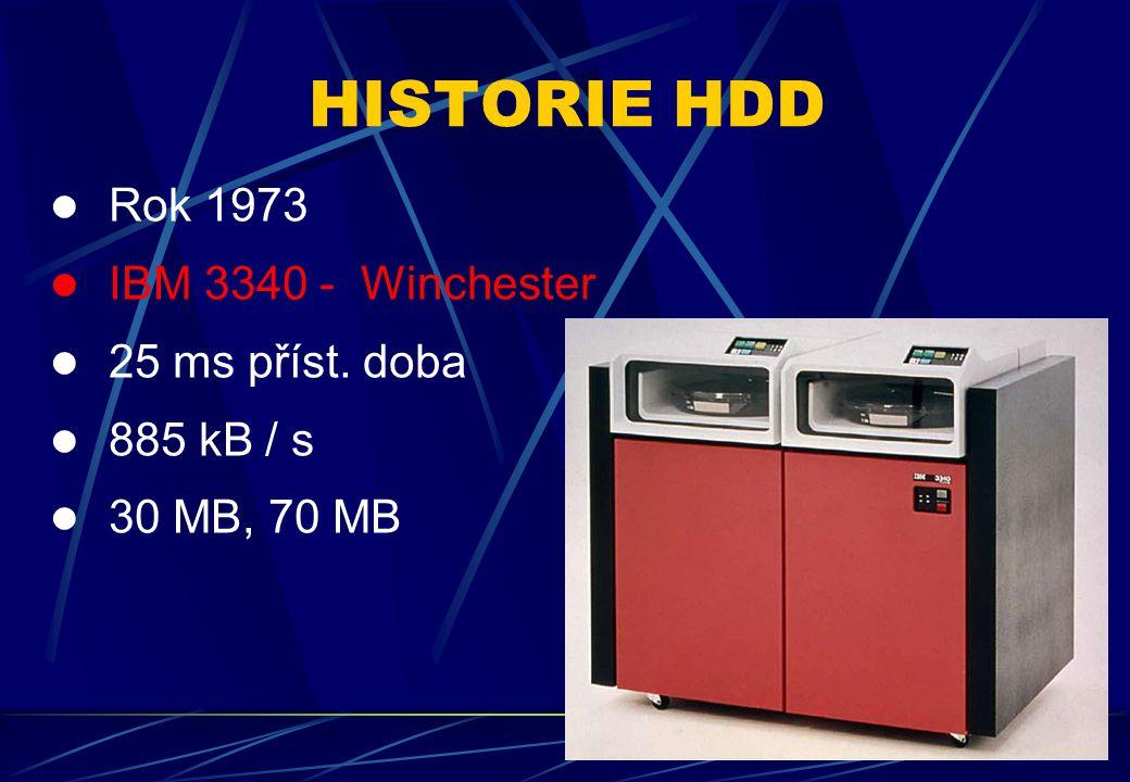 Rok 1980 – první interní HDD IBM 3380 16 ms příst.doba 3 MB / s 2,52 GB 81 – 142 tisíc $ HISTORIE HDD