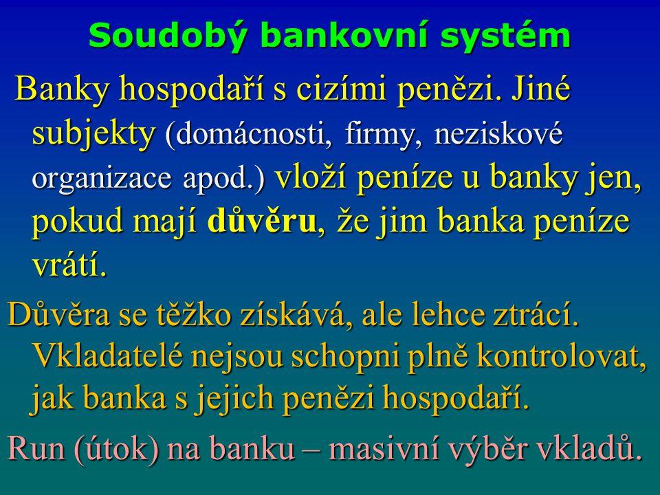 Soudobý bankovní systém Banky hospodaří s cizími penězi. Jiné subjekty (domácnosti, firmy, neziskové organizace apod.) vloží peníze u banky jen, pokud