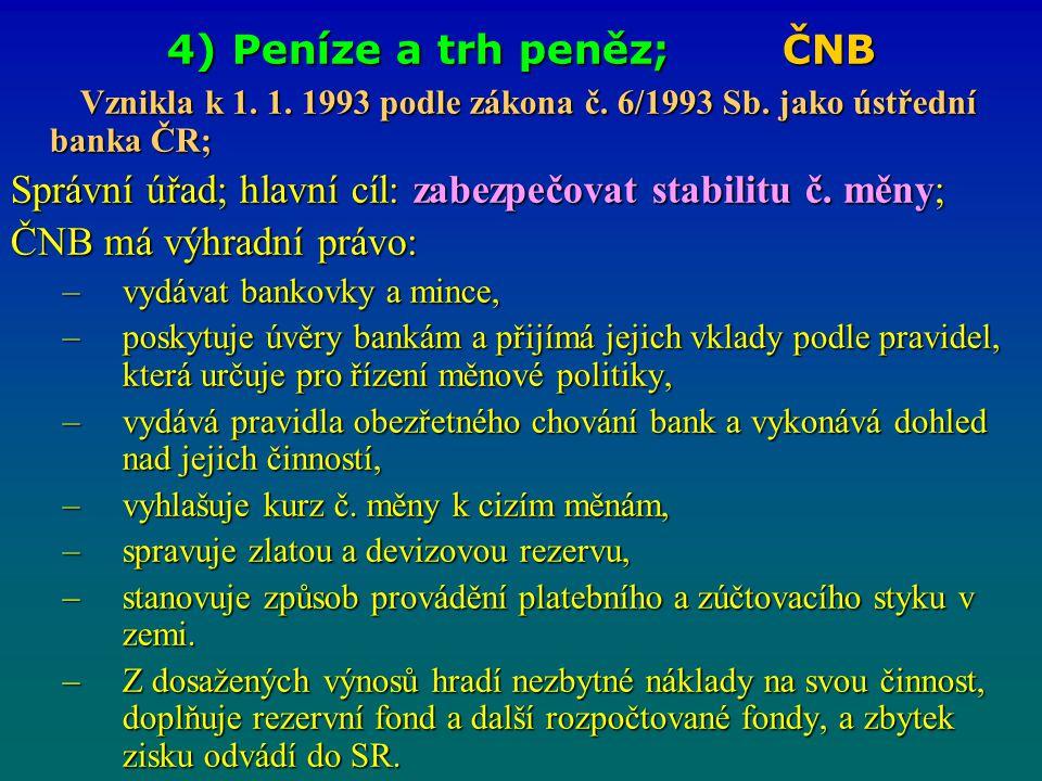 4) Peníze a trh peněz; ČNB Vznikla k 1. 1. 1993 podle zákona č. 6/1993 Sb. jako ústřední banka ČR; Vznikla k 1. 1. 1993 podle zákona č. 6/1993 Sb. jak