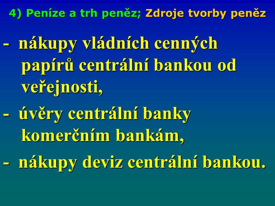 4) Peníze a trh peněz; Zdroje tvorby peněz - nákupy vládních cenných papírů centrální bankou od veřejnosti, - úvěry centrální banky komerčním bankám,
