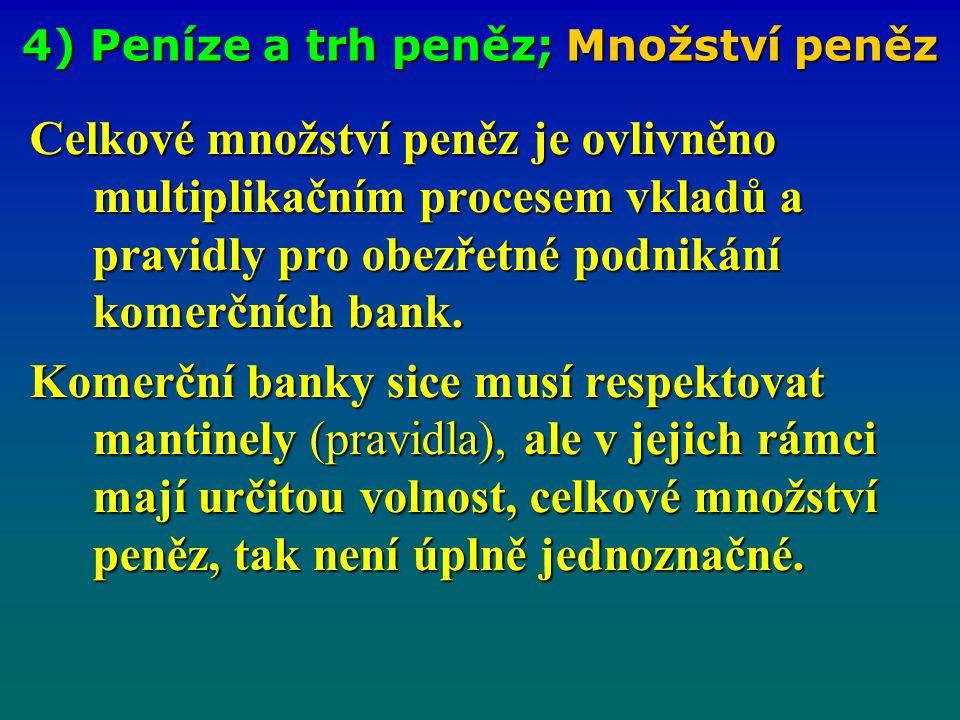 4) Peníze a trh peněz; Množství peněz Celkové množství peněz je ovlivněno multiplikačním procesem vkladů a pravidly pro obezřetné podnikání komerčních