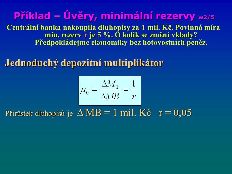 Příklad – Úvěry, minimální rezervy w2/5 Centrální banka nakoupila dluhopisy za 1 mil. Kč. Povinná míra min. rezerv r je 5 %. O kolik se změní vklady?