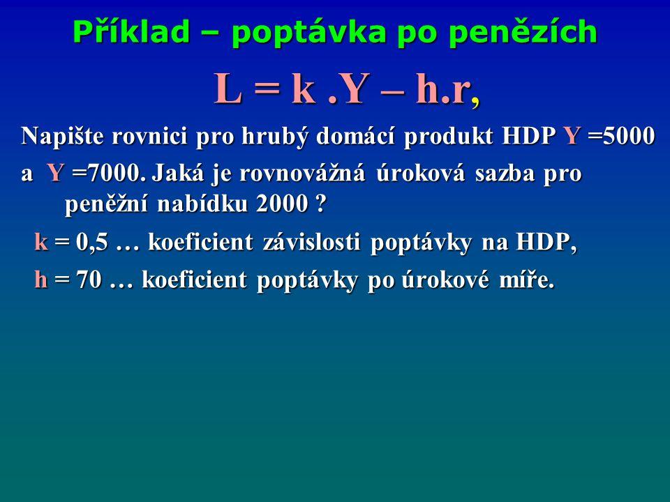 Příklad – poptávka po penězích L = k.Y – h.r, Napište rovnici pro hrubý domácí produkt HDP Y =5000 a Y =7000. Jaká je rovnovážná úroková sazba pro pen