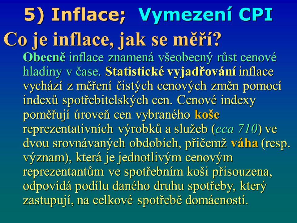 5) Inflace; Vymezení CPI Co je inflace, jak se měří? Obecně inflace znamená všeobecný růst cenové hladiny v čase. Statistické vyjadřování inflace vych
